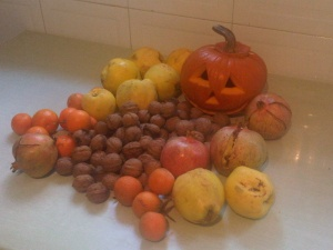 walnuts....mandarin oranges...quince...pomegranate